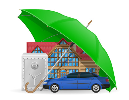 housing problems: insurance concept protected umbrella vector illustration isolated on white background