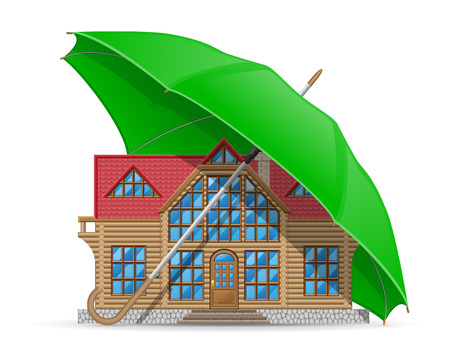 accommodation: concept of protected and insured house accommodation umbrella vector illustration isolated on white background Stock Photo