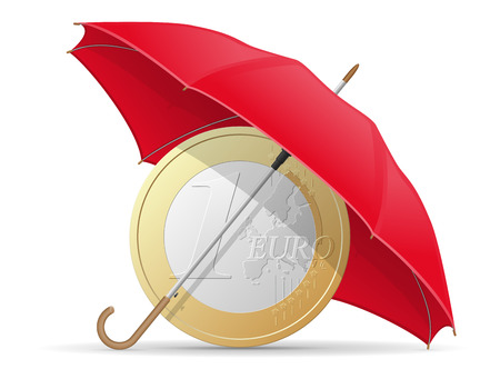 misfortune: concept of protected and insured euro coins umbrella vector illustration isolated on white background