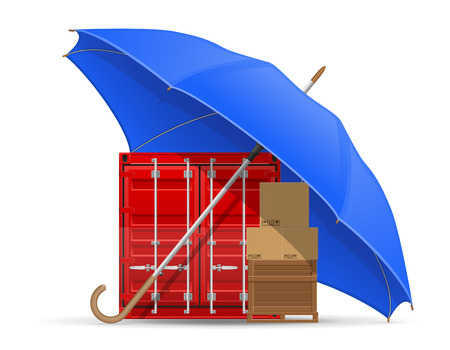 spares: concept of protected and insured cargo umbrella vector illustration isolated on white background