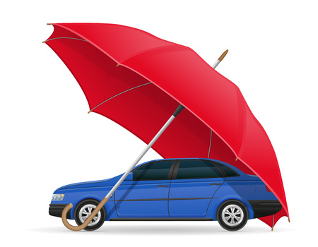 weather protection: concept of protected and insured car umbrella vector illustration isolated on white background Stock Photo