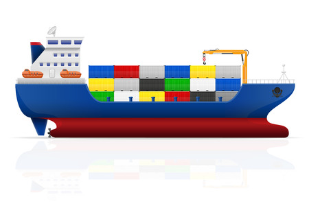 dock: nautical cargo ship vector illustration isolated on white background
