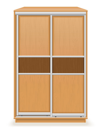 checkroom: modern wooden furniture wardrobe with sliding doors vector illustration isolated on white background