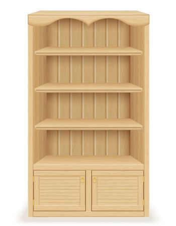 library shelf: bookcase furniture made of wood vector illustration isolated on white background
