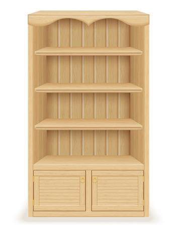 muebles antiguos: muebles estanter�a hecha de ilustraci�n vectorial de madera aislada sobre fondo blanco