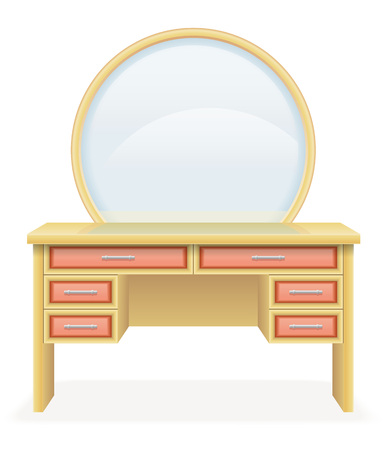 dressing table: vanity table modern furniture vector illustration vector illustration isolated on white background