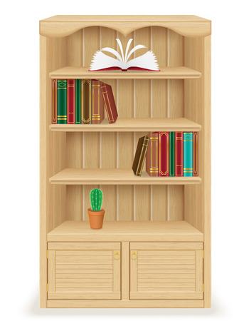wood furniture: bookcase furniture made of wood vector illustration isolated on white background