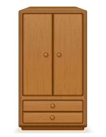 checkroom: old retro wooden furniture wardrobe vector illustration isolated on white background