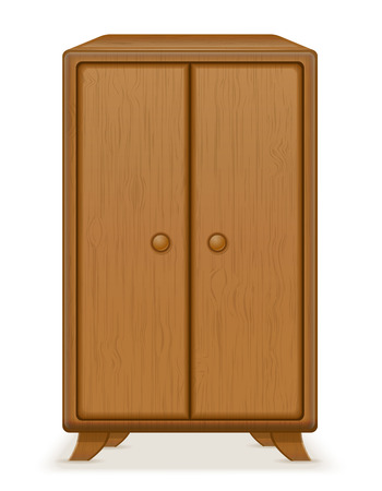 wooden furniture: old retro wooden furniture wardrobe vector illustration isolated on white background