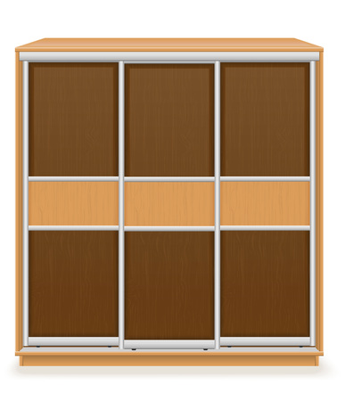 wooden furniture: modern wooden furniture wardrobe with sliding doors vector illustration isolated on white background