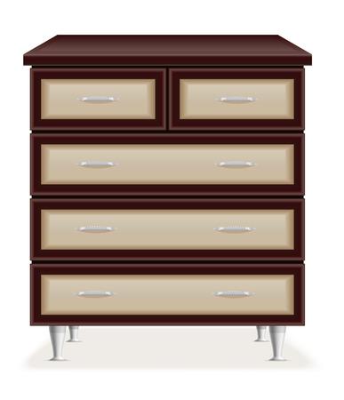 muebles de madera: modernos muebles de madera en el pecho de cajones ilustración vectorial aislados en fondo blanco