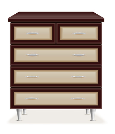 modern wooden furniture chest of drawers vector illustration isolated on white background