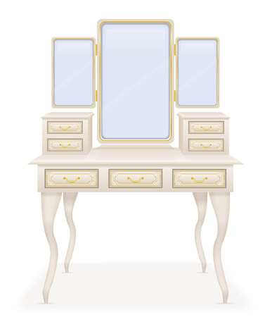 vanity: vanity table old retro furniture vector illustration vector illustration isolated on white background