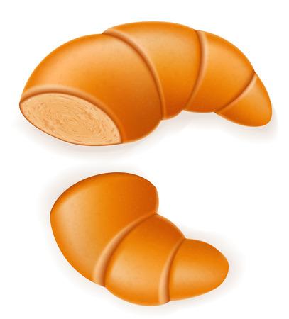 brittle: crispy croissant the broken vector illustration isolated on white background