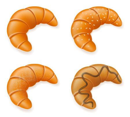 sesame seeds: set icons of fresh crispy croissants with sesame seeds chocolate and powdered sugar vector illustration isolated on white background