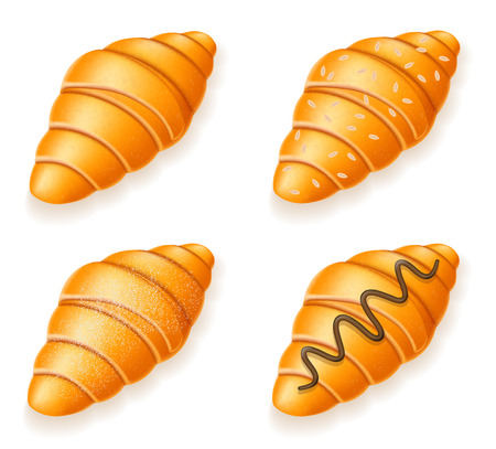 brittle: set icons of fresh crispy croissants with sesame seeds chocolate and powdered sugar vector illustration isolated on white background