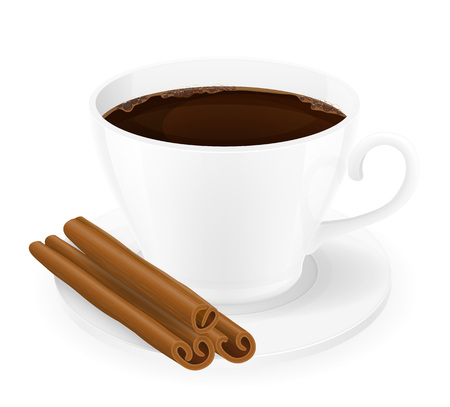 cinnamon sticks: cup of coffee with cinnamon sticks vector illustration isolated on white background