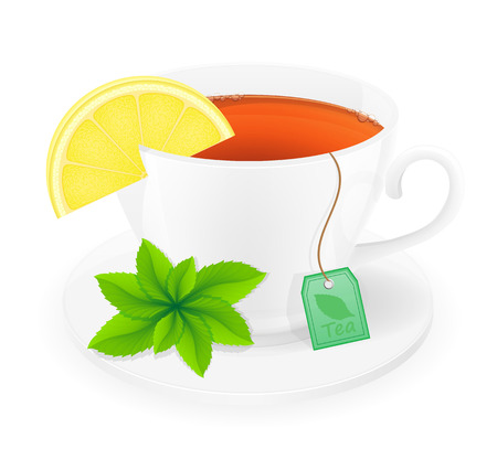 spearmint: porcelain cup of tea with lemon and mint vector illustration isolated on white background Stock Photo