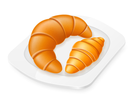 croissant: croissants lying on a plate vector illustration isolated on white background