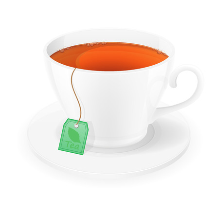 porcelain: porcelain cup of tea in package with rope vector illustration isolated on white background