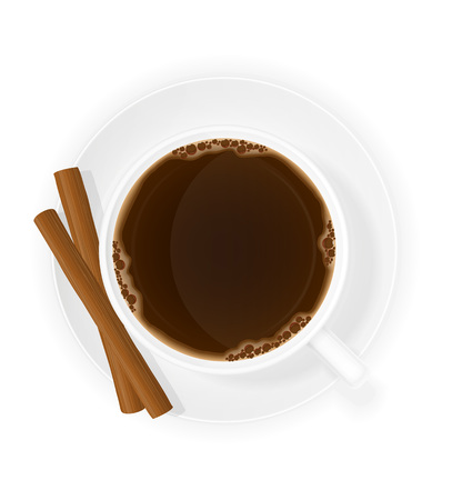 cinnamon sticks: cup of coffee with cinnamon sticks top view vector illustration isolated on white background