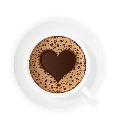 crema: cup of coffee crema and symbol heart vector illustration isolated on white background