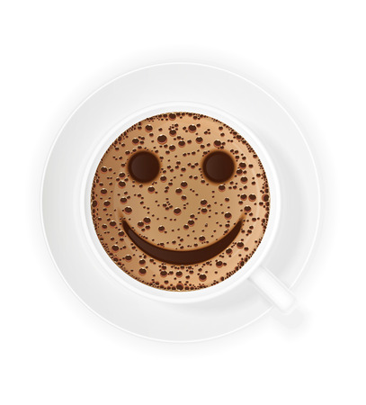 crema: cup of coffee crema and smiley symbol vector illustration isolated on white background Stock Photo