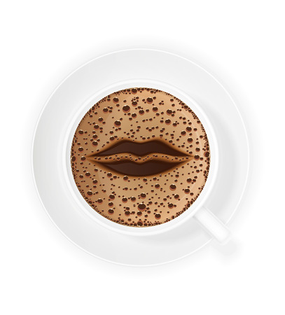 crema: cup of coffee crema and symbol lips vector illustration isolated on white background