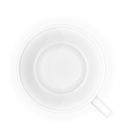 porcelain: porcelain cup top view vector illustration isolated on white background