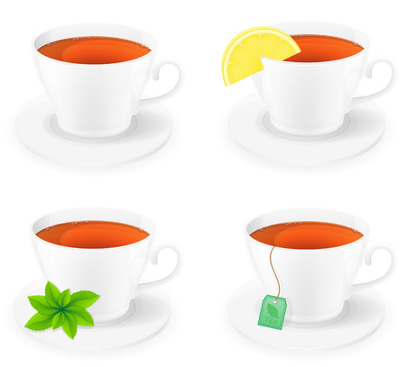 porcelain: porcelain cup of tea with lemon and mint side view vector illustration isolated on white background Stock Photo