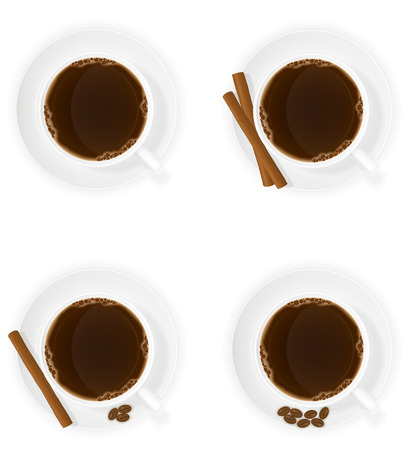 cinnamon sticks: cup of coffee with cinnamon sticks grain and beans top view vector illustration isolated on white background