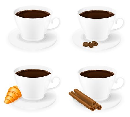cinnamon sticks: cup of coffee with cinnamon sticks grain and beans side view vector illustration isolated on white background