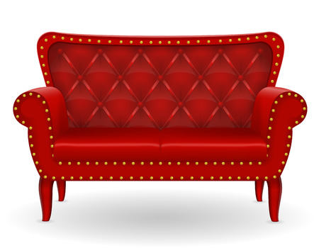 furniture home: red sofa furniture vector illustration isolated on white background
