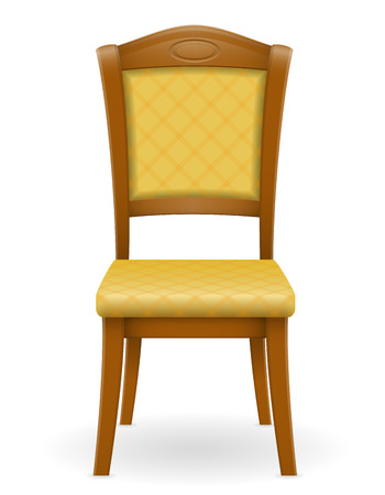 backrest: wooden chair furniture with padded backrest and seats vector illustration isolated on white background Stock Photo