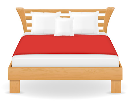 headboard: double bed furniture vector illustration isolated on white background Stock Photo