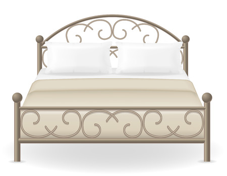 bedroom: double bed furniture vector illustration isolated on white background Stock Photo