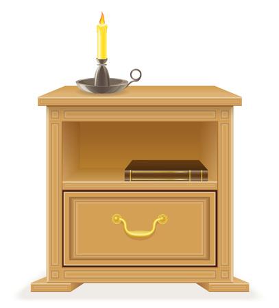 Retro Muebles De Madera En El Pecho De Cajones Ilustración Vectorial ...
