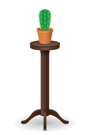plant stand: stand for flowerpots furniture and cactus vector illustration isolated on white background Stock Photo