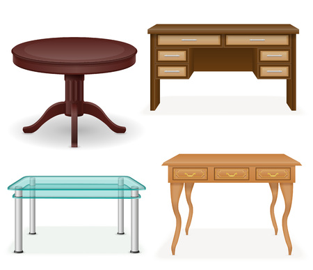 table decoration: set icons furniture table vector illustration isolated on white background Stock Photo