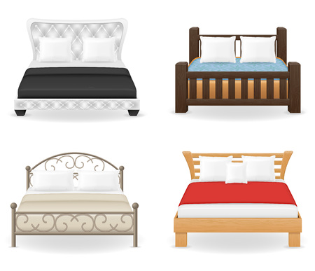 headboard: set icons furniture double bed vector illustration isolated on white background