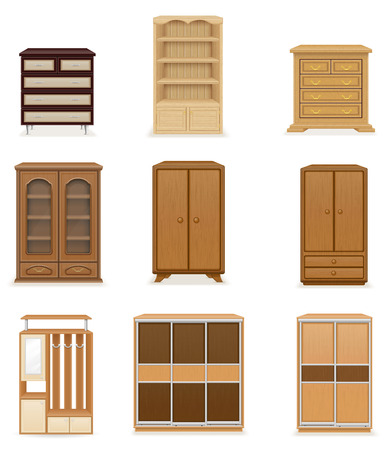 checkroom: set icons furniture wardrobe cupboard and commode vector illustration isolated on white background Stock Photo