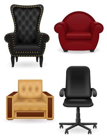 back of leg: set icons armchair furniture vector illustration isolated on white background