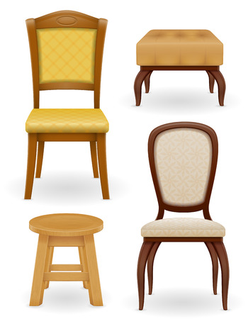 home furniture: set icons furniture chair stool and pouf vector illustration isolated on white background