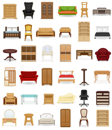 白い背景で隔離の家具ベクトル図のアイコンを設定します。