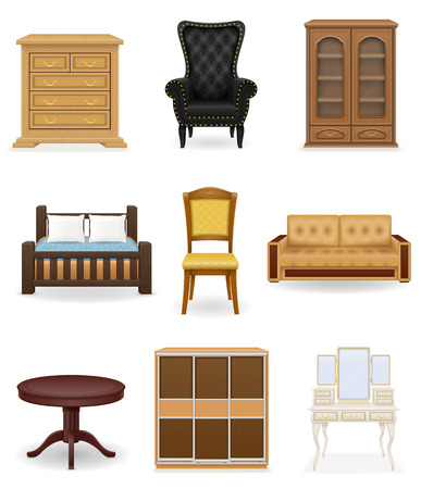 bed room: set icons furniture vector illustration isolated on white background Stock Photo