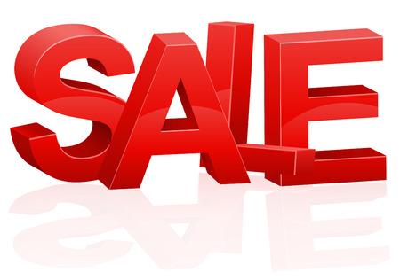 volumetric: three-dimensional volumetric red inscription sale vector illustration isolated on white background Stock Photo