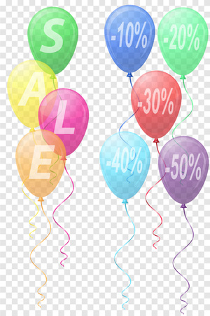 shopping store: transparent colors balloons with the inscription sale vector illustration isolated on background