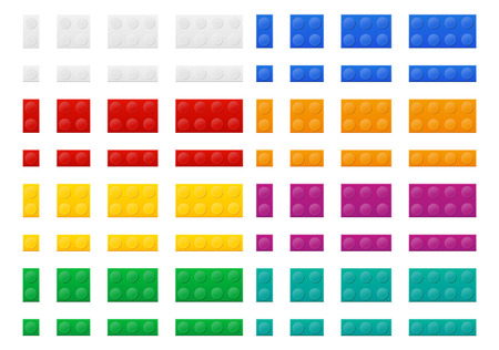 constructor: set of colored plastic constructor top view vector illustration isolated on white background Stock Photo