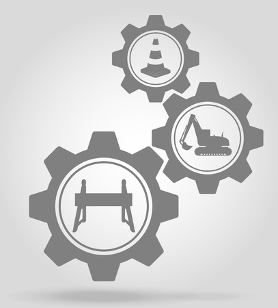 road works: road works gear mechanism concept vector illustration isolated on gray background