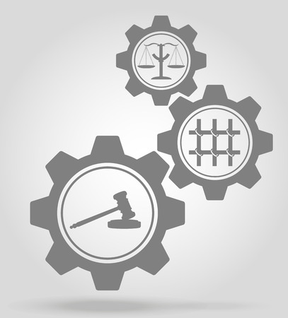 organized crime: justice gear mechanism concept vector illustration isolated on gray background